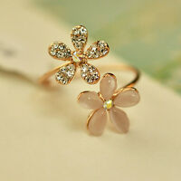 Fashion Womens Gold Daisy Flower Crystal Rhinestone Ring Gift Adjustable Jewelry