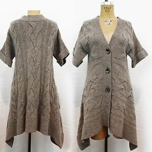 Moth Anthropologie M Taupe short sleeve chunky knit cardigan ...