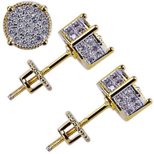 8c8f144848da49 Mens Gold Plated Two Tone Iced out CZ Micropave Earring Stud Round Hip Hop