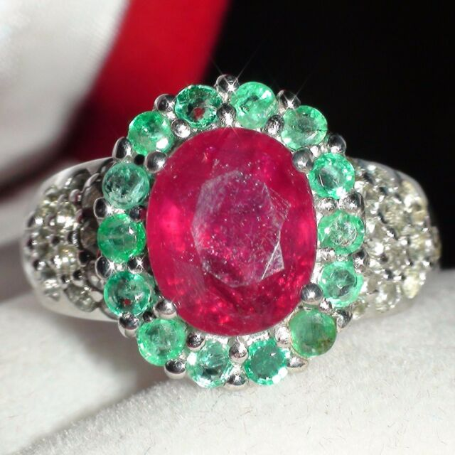 Natural! Top Ruby,Emerald 25.61CT Ring,Vintage Fine Estate Jewelry 925 Silver.