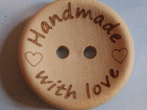 20 trozo ♥ hand made with Love ♥ madera natural botón//botones 2 cm//20 mm Handmade