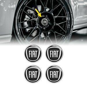 Adesivi 3D Copriruota Fiat Nero, 4 Pezzi, Diametro 58 mm