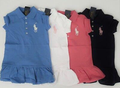 NWT Ralph Lauren Girls LS Cream Mesh Big Pony Polo Dress Sz 16 XL NEW $55