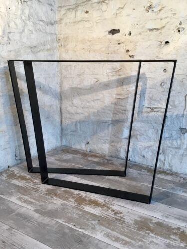 2 Handmade Flat Reverse Trapezium Raw Steel Large Dining Table Legs Industrial