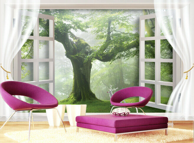 3D Window Tree 771 Wallpaper Mural Paper Wall Print Wallpaper Murals UK Lemon