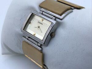 Fossil Women Watch Gold/Silver Tone Analog 50M Water Resistant Wrist Watch