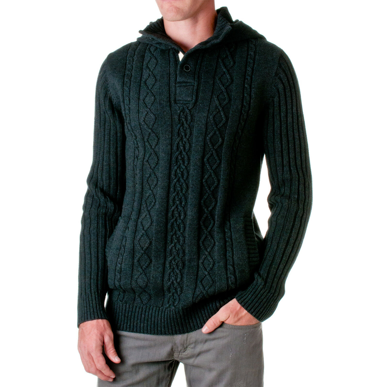 D-LUX Uomo's Cotton Cable-Knit Cable-Knit Cable-Knit Hooded Sweater 225d1f