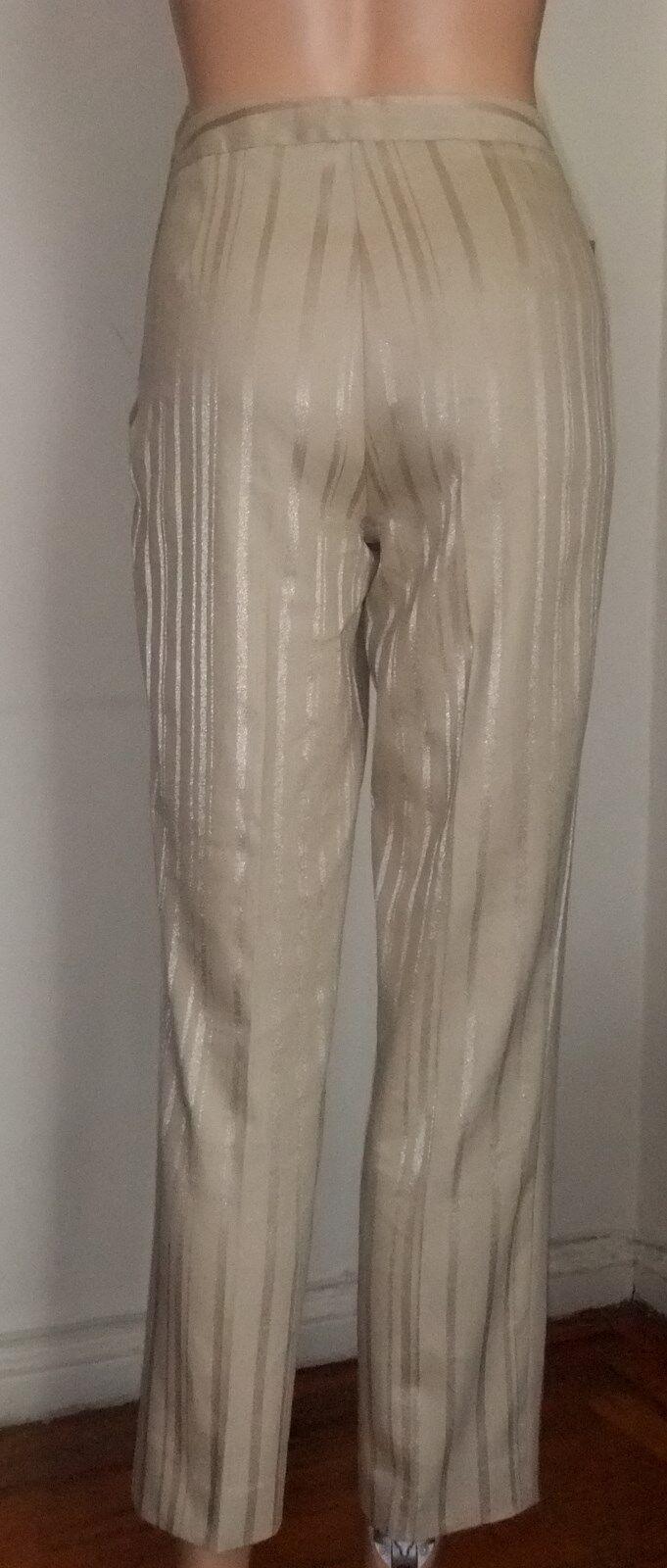 LES COPAINS CHAMPAGNE BEIGE COTTON LINEN DRESSY PANTS, Italian 42 US 6, 27 long