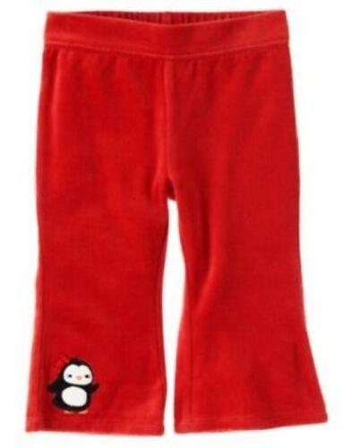 GYMBOREE WINTER PENGUIN RED PENGUIN HEM VELOUR PANTS 3 6 12 18 24 2 3T 4T 5T NWT