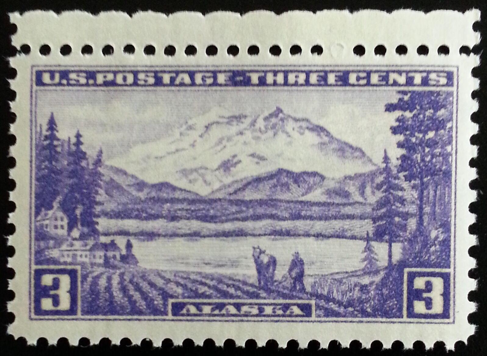 1937 3c Alaska Territory, Mount McKinley Scott 800 Mint