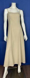 Marella-abito-donna-usato-tg-44-seta-beige-estivo-leggero-vestito-elegante-T4925