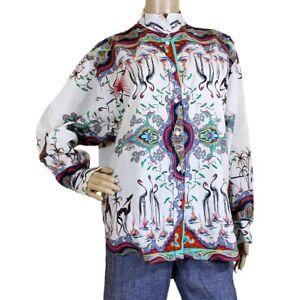 ETRO Flamingo Paisley Long Sleeve Button Front Blouse Shirt XL