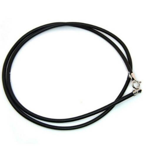 Black Leather Silver 2mm Necklace Lanyard Pendant Rope String Cord A