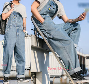 New-men-039-s-loose-denim-overalls-bib-suspenders-jeans-jumpsuit-retro