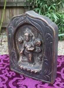 ALTES Tempelbild aus Holz und Bronze WEIßE TARA aus Nepal