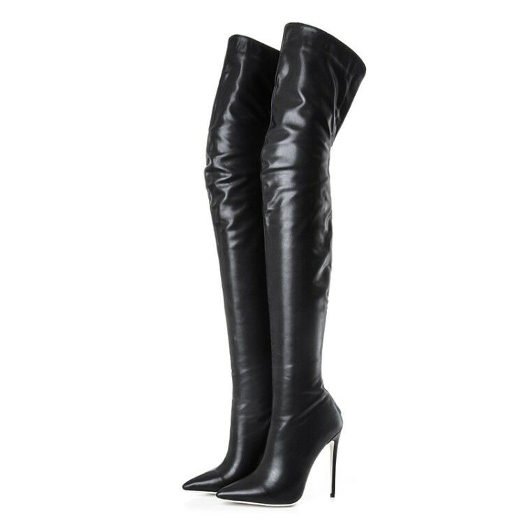 Black Women Pointed Toe High Stiletto Heel Over the Knee Thigh Boots Plus Size