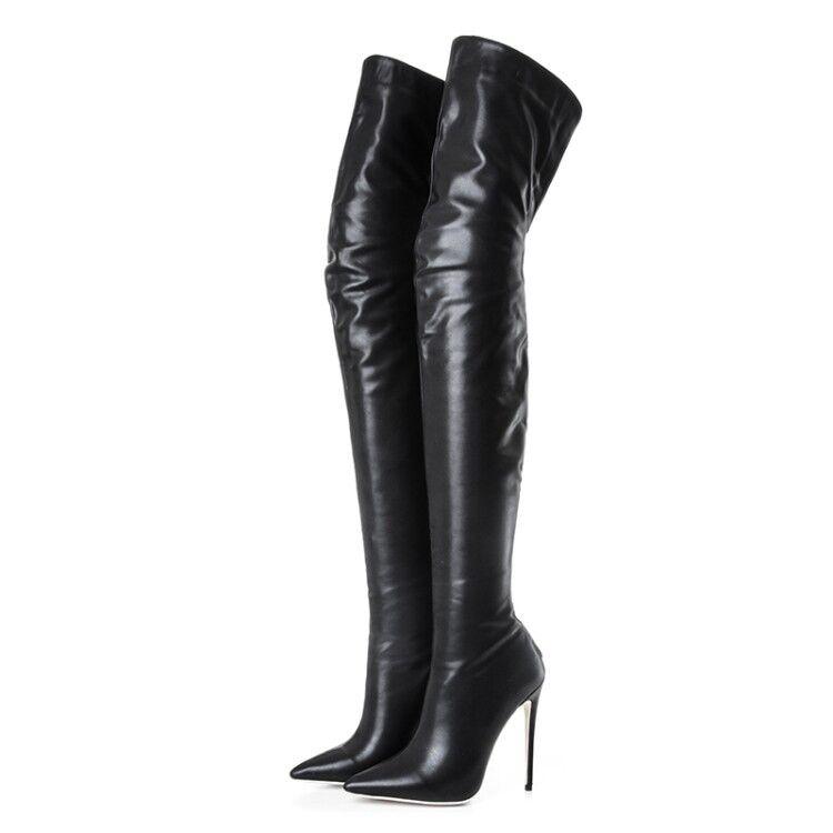 En punta punta punta de mujer Tacón alto encima de la rodilla botas Muslo botas Tacón Stiletto Negro 2a2e74