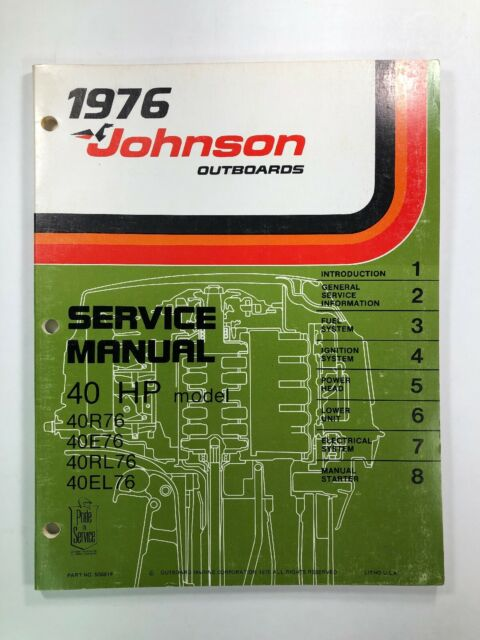 1976 Johnson 40 Hp Omc Outboard Service Shop Repair Manual