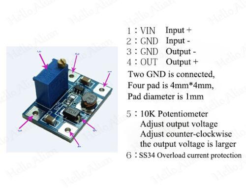 DC-DC 3.3V 5V 6V 9V 12V 2A Boost Step up Converter Regulator Power Supply Module