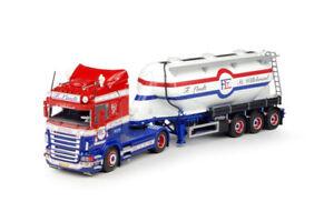 Tek64822 - Camion 4x2 Scania R Highline Et Semi 3 Essieux Silo F.lindt 1/50