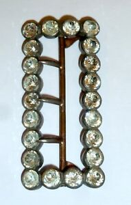A-VICTORIAN-STEEL-amp-BRASS-BELT-BUCKLE-WITH-DIAMANTES-amp-MOVABLE-PRONGS