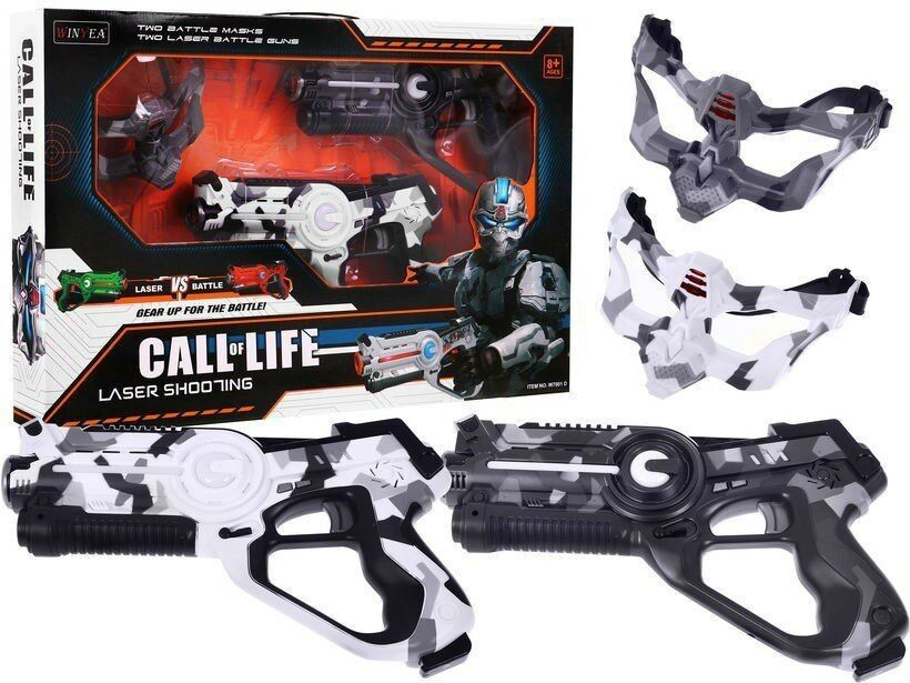 Laser Challenge Gun CALL OF LIFE  for 2 player 2 x gun 2 x mask LASER TAG Mgold
