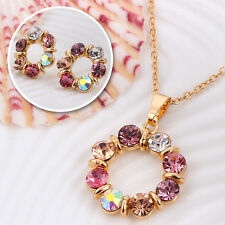 Neu Multicolor farbigen Kristall-Anhänger Brauthalsketten -Ohrring -Schmuck-Set
