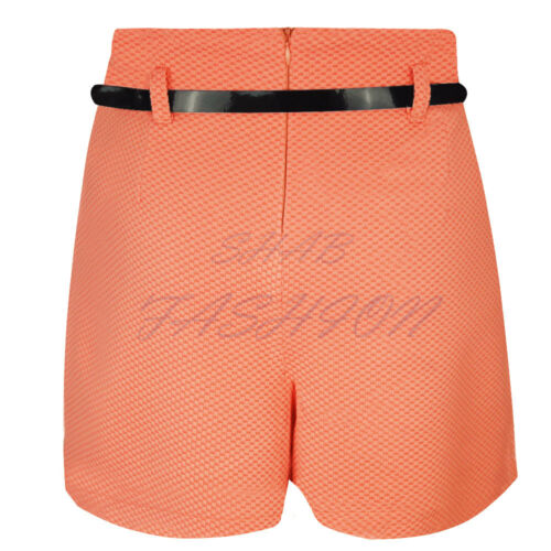 Ladies Womens Summer Casual High Waisted Waffle Woven Belted Shorts Hotpants