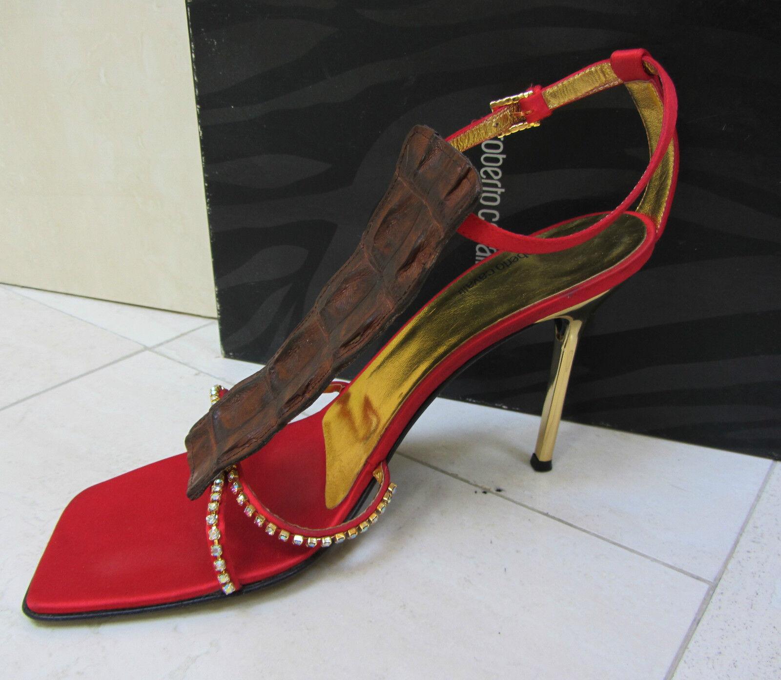 VINTAGE ROBERTO CAVALLI EXOTIC Satin Rhinestone Slingback Dress Sandal shoes shoes shoes 39 d01e1d