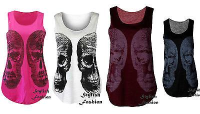 Lz46 Halloween Womens Skull Printed Vest Ladies T-shirt Graphic Vest Top Uk 8-14 Um Eine Reibungslose üBertragung Zu GewäHrleisten