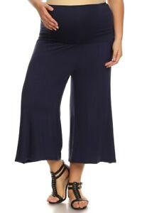 Women Maternity Gaucho Capri Flare Pants Wide Leg Fold Over Made In Usa Ebay