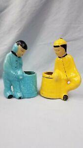 Vintage-Ceramic-Chinese-Asian-Oriental-Boy-Girl-Man-Woman-Pair-Figurine-Planters