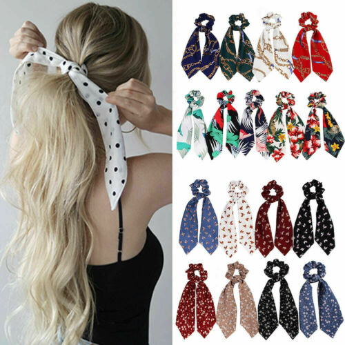 Women Scrunchie Ponytail Holder Elastic Long Ribbon Bow Hair Band Rope Hair Ties