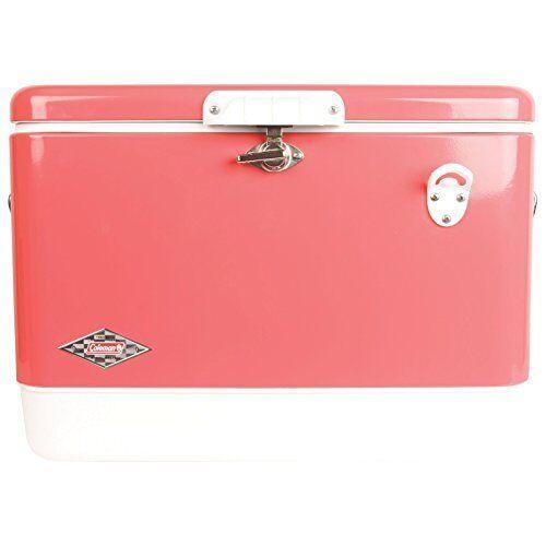 Vintage Steel-Belted Portable Cooler w  Bottle Opener (54qt)  pink Pink  best price