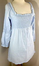 ESPRIT Sz XS Blue Woven Smocked Tunic Blouse Top