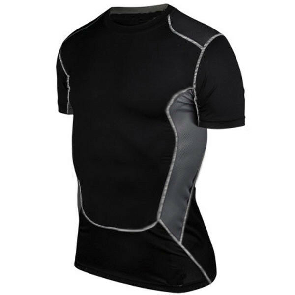 Mens Sports Compression Under Skins Baselayer Short Sleeve T-Shirt Athletic Tops
