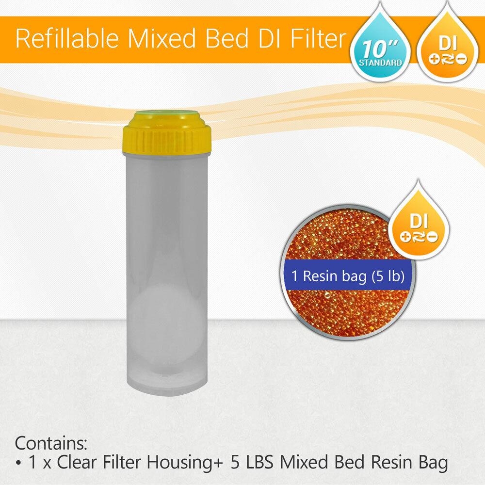 Osmose Inverse Osmose Inverse di rechargeables Logement Filtre + 5 LB (environ 2.27 kg) résines à Lit Mélangé Sac