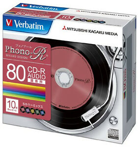 X10-Verbatim-JAPAN-Blank-Music-CDR-Discs-80min-24x-CD-R-MUR80PHS10V1-Color-Mix