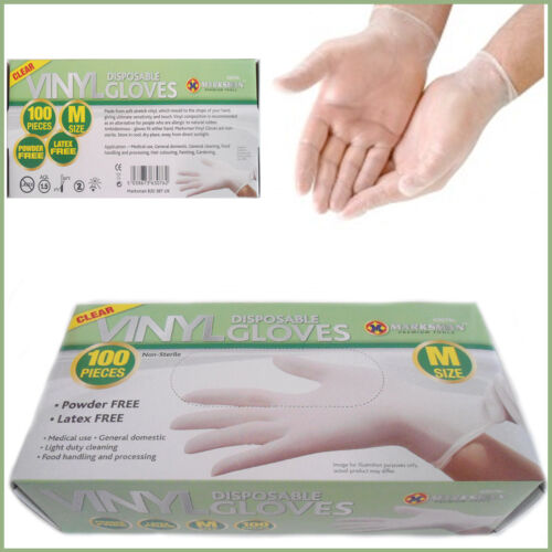 Medium 100 x Powder-Free Vinyl Box of Gloves Disposable Clear Food Prep Kitchen