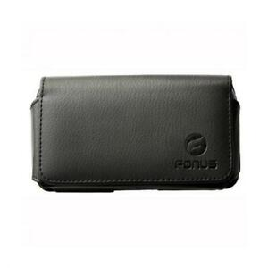 BLACK-HORIZONTAL-LEATHER-SIDE-CASE-COVER-POUCH-SWIVEL-BELT-CLIP-for-SMARTPHONES