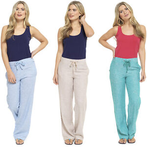 9a73f7452d3 Ladies Linen Trousers Casual Two Tone Bottoms Summer Holiday Womens ...