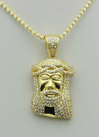 Sterling Silver Simulated Diamonds Jesus Piece Necklace Gold Plated - 19.8