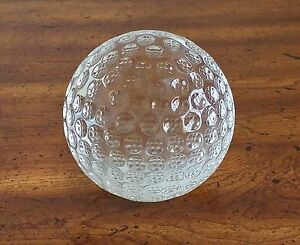 Oleg Cassini Signed Crystal Paperweight Sphere Golf Ball 10 Around