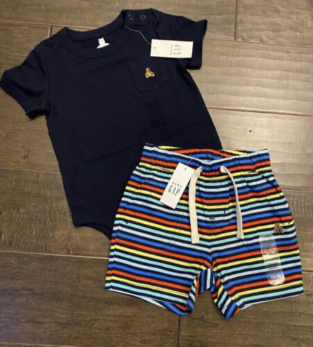 NWT Baby Gap Boys Size 12-18 Months Blue Bodysuit And Striped Shorts Outfit