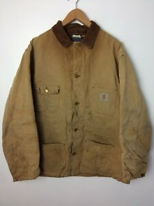 special sales outlet store pretty cheap Details about Vintage CARHARTT Brown Blanket Lined CHORE Coat Size 50 Tall  Made In USA