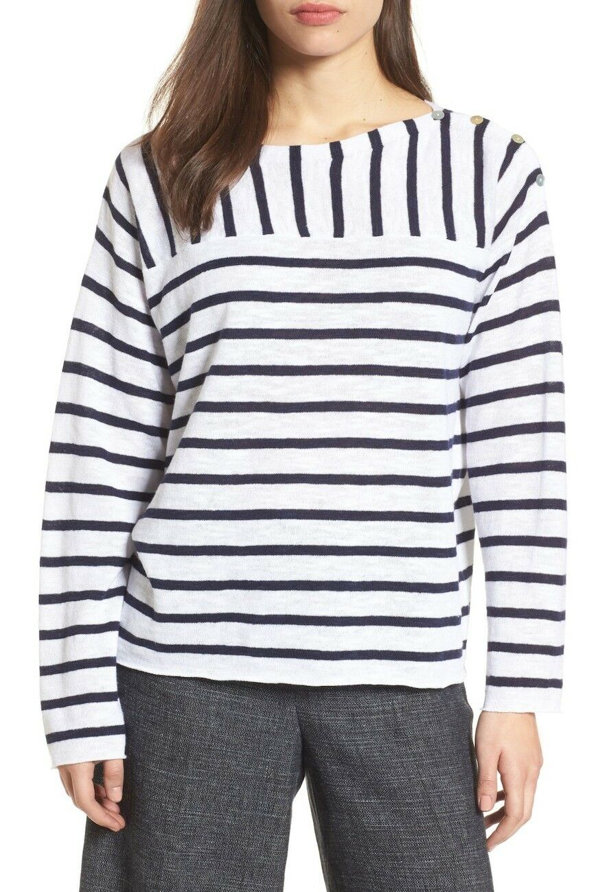 NEW Eileen Fisher Stripe Organic Linen & Cotton Sweater - M