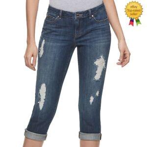 bca0b893566 Jennifer Lopez Womens Ripped Capri Jeans Mid Rise Slim Stretch size ...