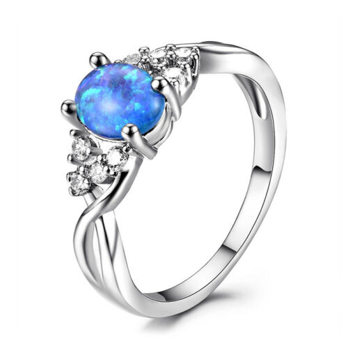 925 Silver Oval White //Purple //Blue Fire Opal Promise Infinite Ring Wedding Gift