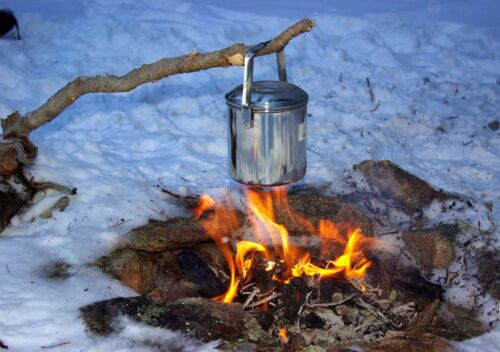 Zebra Boucle Poignée Pot en acier inoxydable BILLY CAN 12 cm Bushcraft Survie Camping