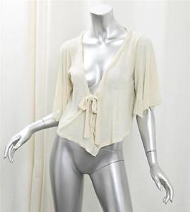 ZUCCA Womens Cream Lightweight Knit Short-Sleeve Wrap Cardigan ...